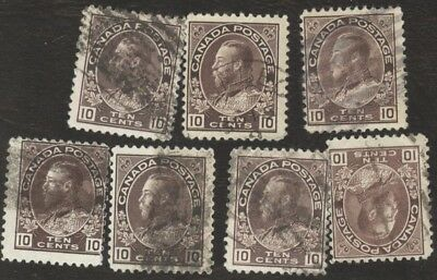 Stamps Canada # 116, 10¢, 1912, lot of 7 used stamps.