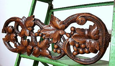 CARVED WOOD PEDIMENT ANTIQUE FRENCH COUNTRY GRAPES VINE SALVAGED CARVING 19th f