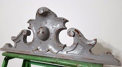 """Shabby Hand Carved Wood Pediment 17"""" Antique French Coat Of Arms Crest Panelling"""