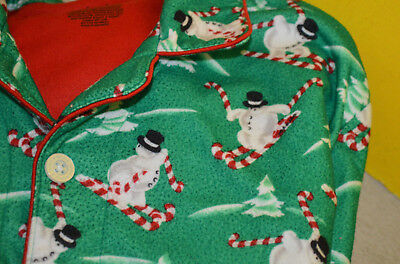NICK & NORA Boy Girl Kids Snowman Winter print fleece pajamas XL 16-18