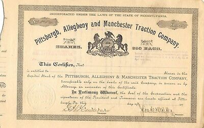 Pittsburgh Allegheny & Manchester Traction 1890 Stock Certificate Pennsylvania