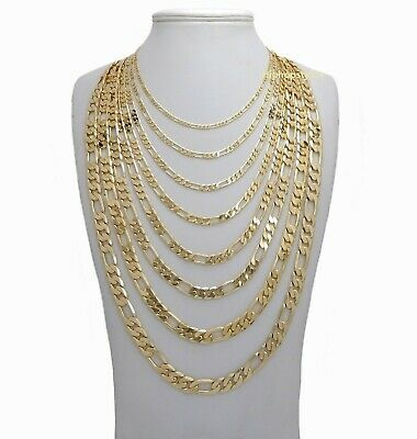 Mens 14k Gold Plated Italian Figaro Link Chain Necklace 3mm to 10mm