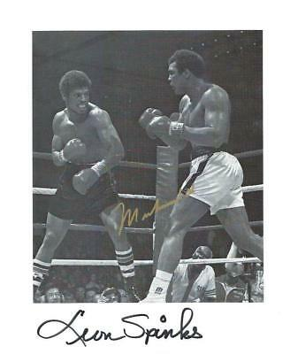 Muhammad ALI & Leon SPINKS signed Boxing 8x10 Photo AFTAL