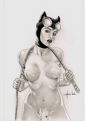 CATWOMAN BY ALEX LEI- ART PINUP Drawing Original