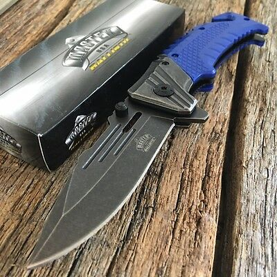 Master USA Spring Assisted Open Blue Tactical Folding Blade Pocket Knife NIB-