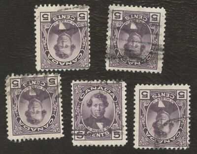 Stamps Canada # 146, 5¢, 1927, lot of 5 used  stamps.