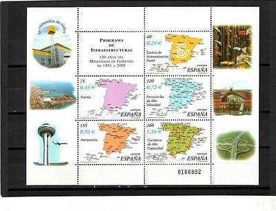 SPAIN - SG3808-3812 MNH 2001 150th ANNIV MINISTRY OF PUBLIC WORKS - SHEETLET