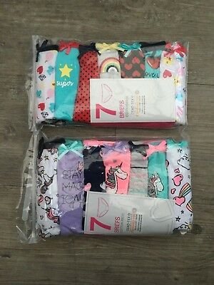 7 x Pairs Girls Mermaids / Fruit / Unicorns Underwear Knickers Briefs Age 2- 6