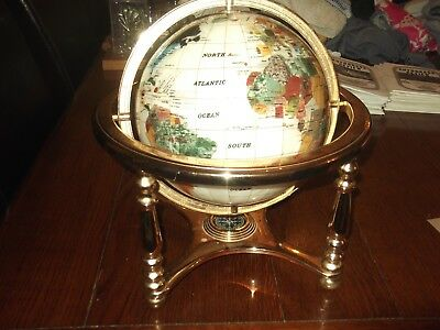 White/cream Lapsis World Globe with Compas and Brass Stand