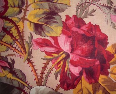 BEAUTIFUL FRAGMENT 19th CENTURY FRENCH LINEN c1850s GORGEOUS ROSES