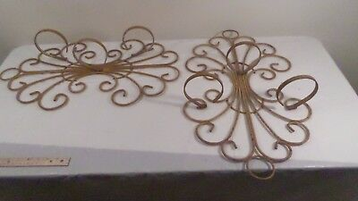 Pair Large Vintage Rustic Swirled Wrought Iron Sconce Plant Holder Candle Holder