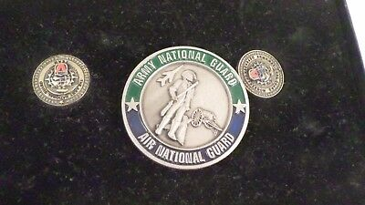 3pc Vintage American Soldiers Defender of Freedom National Guard Team Coin Pins
