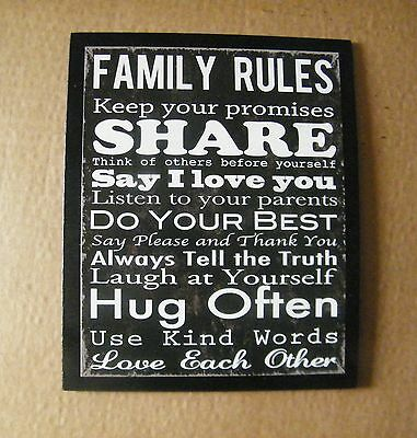 FAMILY RULES Say Love You Share Tell truth Laugh Hugs wooden inspirational sign