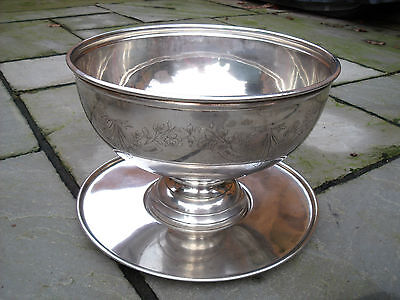 Antique Silver Plated Punch Bowl with Tray/Plate engraved with Swags & Flowers.