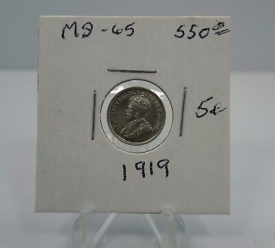 1919 Canadian Canada 5 Cents .925 Silver Coin You Grade It 5c Z19