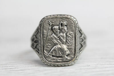 Art Deco St Christopher Protect Us Ring Travel Saint Jesus New Old Stock Great