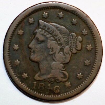 1846 Braided Hair Large Cent   N17071