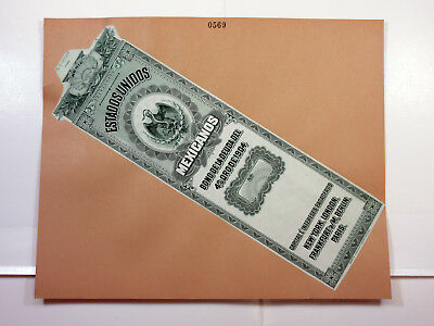 Mexico Intaglio Proof 4% Gold Bond Loan front on ABNC Archive Folder