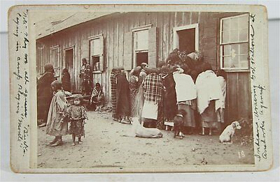 ca1880s NATIVE AMERICAN KIOWA INDIAN AGENCY RATION DAY CABINET CARD PHOTOGRAPH
