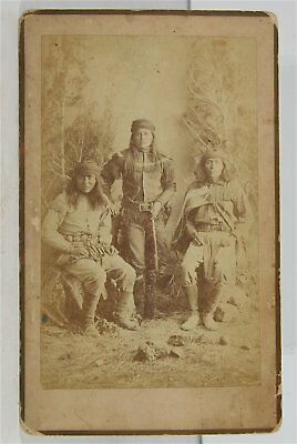 ca1883 NATIVE AMERICAN APACHE INDIAN CHIEF PEACHES & SCOUTS CABINET CARD PHOTO