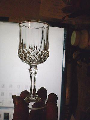 (3) Long champ Cristal d'Arques French Cordials ~ 24% Lead Crystal 4 1/2'' TALL