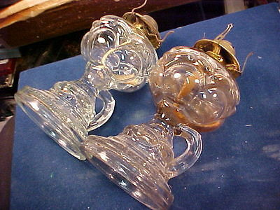 vintage fancy pair of EAPG pressed glass Victorian finger oil  lamps NICE