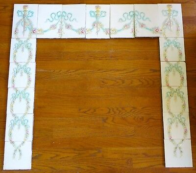 Complete Set Beautiful Victorian Floral Fireplace Tile  Surrond American Encaust