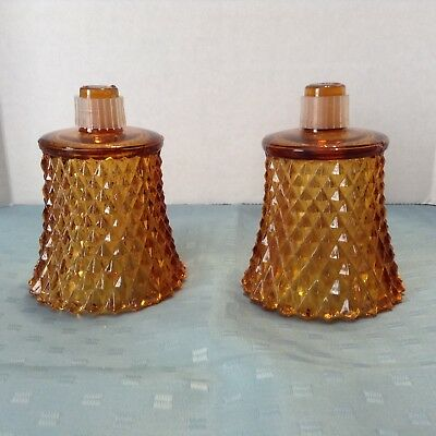 Pair Of Diamond Cut Glass Amber Color Votive Candle Cup Holders (Peg Lites)