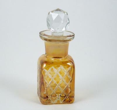 Vintage Glass Perfume Scent Bottle Cut Glass Square Shape Faceted Glass Stopper