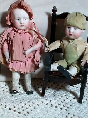 Two Original Rare Antique Gebruder Heubach Pouty Dolls in Original Paper Outfits