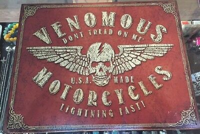 New Venomous Motorcyle Metal Sign USA Made Don't Tread On Me 12.5 x 16