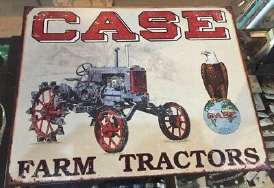 Case Farm Tractor Metal  Vintage American Eagle Sign USA Made 12.5 x 16