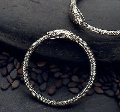 925 Sterling Silver Ouroboros Snake Ring Ancient Symbol Serpent eating Tail sz 7