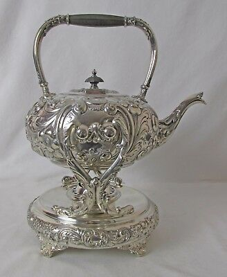 Barbour Silver Plated Tilt Or Spirit Kettle C: 1894 Repousse Design