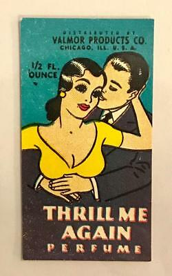 Vintage 1940's Valmor Products Co. Thrill Me Again Perfume Bottle Label,Chicago