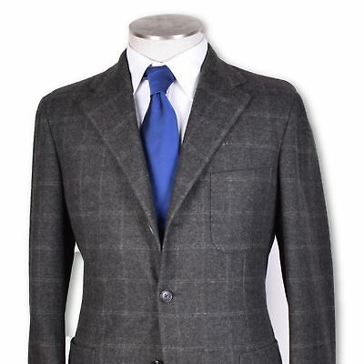 new Belvest dark gray windowpane Wool Cashmere soft tweed sportcoat jacket 40 r