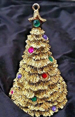 Vintage 1996 Avon Holiday Sparkle Christmas Tree Ornament 4 inches Gold Tone