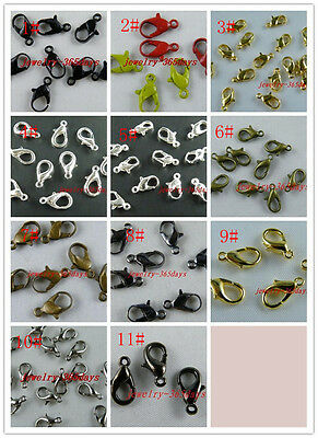 100pcs Lobster Parrot Clasps 7x12mm,Gold/Silver/Bronze H135-H142