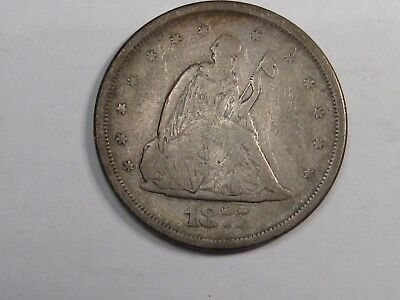 1875-s Silver US Obsolete 20 cent coin. 20c.  Full Rims.