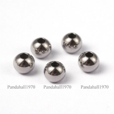 100 Pcs Round 304 Stainless Steel Beads For DIY Jewelry Making Steel Color 6x5mm