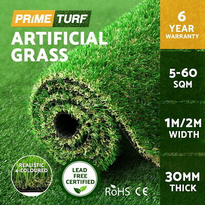 Primeturf 5-60 SQM Synthetic Turf Artificial Grass Plastic Fake Plant Lawn 30mm