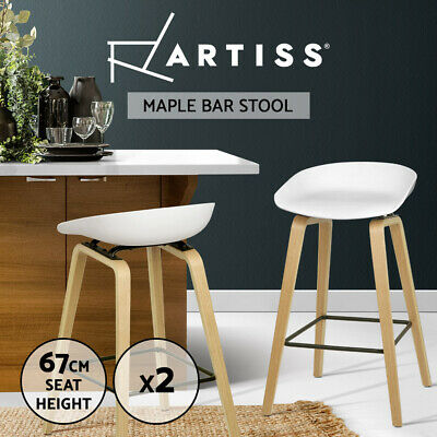 2x Wooden Bar Stools Barstool Kitchen Dining Chair Metal Footrest White 8801
