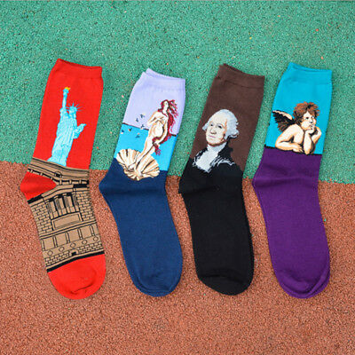 Vintage Statue of Liberty Painting Soft Cotton Warm Socks Christmas For Unisex