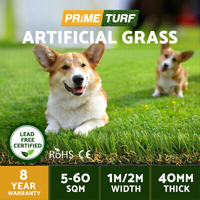 Primeturf 5-60 SQM Synthetic Artificial Grass Turf Plastic Fake Plants Lawn 40mm