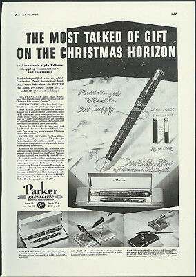 Most talked about on Christmas horizon Parker Vacumatic Fountain Pen ad 1936
