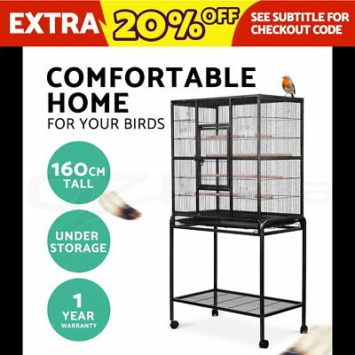 Bird Cage Parrot Aviary Pet Stand-alone Budgie Perch Wheels Castor Large 160cm