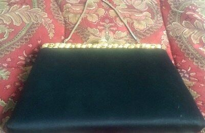 Vintage Black After Five Satin Clutch w/Gold Tone & Stones
