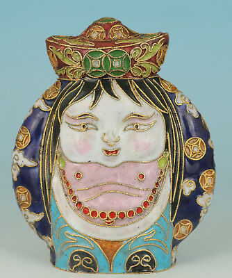 Chinese Old Cloisonne Handmade Carved Belle Girl Statue