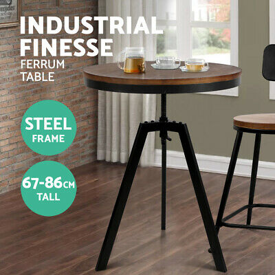 Round Dining Table FERRUM Retro Industrial Metal Bar Elm Wooden Café Coffee