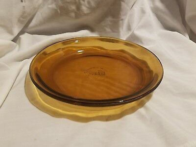Vtg Fire King Anchor Hocking Amber Colored Pie Plate USA Made 9   Glass Pan & ANCHOR HOCKING / Fire King 9